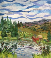 I added some foreground grasses, cattails, and 3 red-winged black birds. Then I asked Sue Benner to critique it.