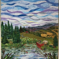 With Sue's critiqque I attempted to gain some atmospheric perspective by making the lower horizon clouds thinner and adding some purple and some yellow in the clouds. In the water I used larger and longer pieces of fabric at the front. More individual grasses were addd around the shoreline for more depth and for more contrast I added yellow hayfields on the right on the roling hills. Finished!